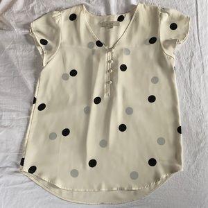 LOFT Cream & Black Dots Mini Puff Sleeve Flowy Top